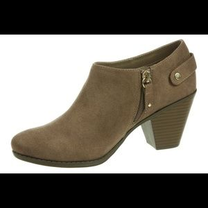 Dr. Scholl's faux suede brown zipped booties